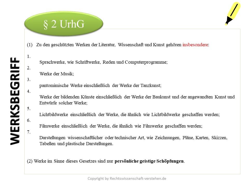 Schutzgegenstand: Werk nach §§ 2 ff. UrhG | Urheberrecht Grundlagen